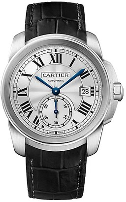 Cartier Calibre de Stainless Steel & Black Alligator-Strap Watch/38MM