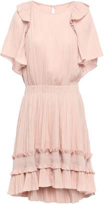 Halston Ruffle-trimmed Plisse Crepe De Chine Mini Dress