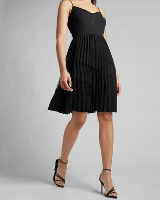 Express Pleated Lace Pieced Dress