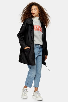 Topshop Womens Petite Black Longline Rain Mac - Navy Blue