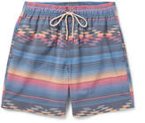 Faherty Beacon Mid-length Printed Swim Shorts - Blue