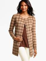 Talbots Double-Face Zip-Front Topper - Houndstooth Plaid