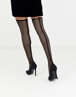 ASOS DESIGN Kristen mesh thigh high boots in black