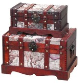 Quickway Imports Old World Map Wooden Trunk (Set of 2)