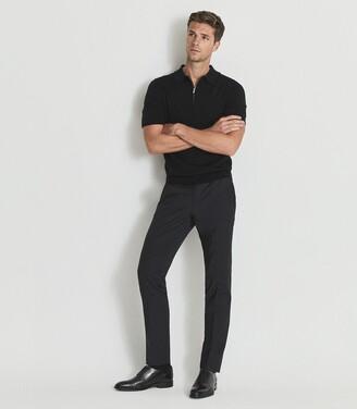 Reiss Maxwell - Merino Zip Neck Polo in Black