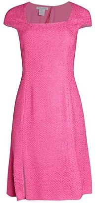 Oscar de la Renta Cap-Sleeve Squareneck Dress