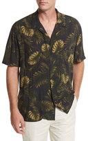 Vince Leaf-Print Short-Sleeve Cabana Shirt, Navy