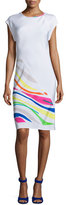 Shamask Sleeveless Spiral-Cut Sheath Dress, White/Multi