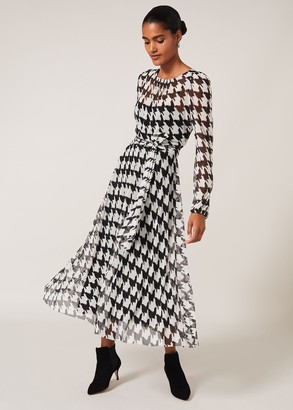 Phase Eight Raina Houndstooth Pleated Mesh Dress