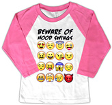 Micro Me Hot Pink 'Mood Swings' Emoji Raglan Tee - Toddler & Girls