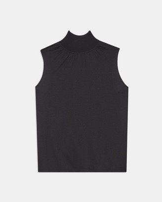 Theory Ribbed Neck Shell Top in Silk Jersey