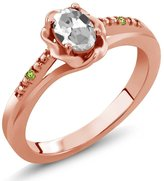 Gem Stone King 0.51 Ct Oval White Topaz and Green Simulated Peridot 14K Rose Gold Ring