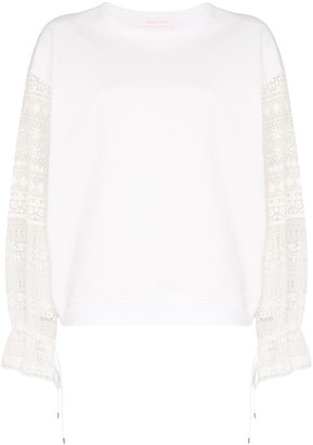 See by Chloe Lace-Panelled Cotton Top