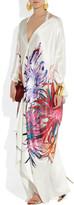 Roberto Cavalli Floral-print silk-satin kimono gown