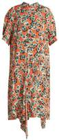 Marni Poetry Flower-print draped-hem crepe dress
