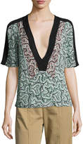 A.L.C. Lilias Short-Sleeve Abstract Silk Top, Green