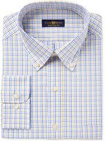 Club Room Men's Big & Tall Classic/Regular Fit Estate Wrinkle Resistant Yellow Blue Triple Check Dress Shirt, Created for Macy's
