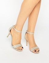 Dune Maria Gold Lurex Ankle Strap Mid Heeled Sandals