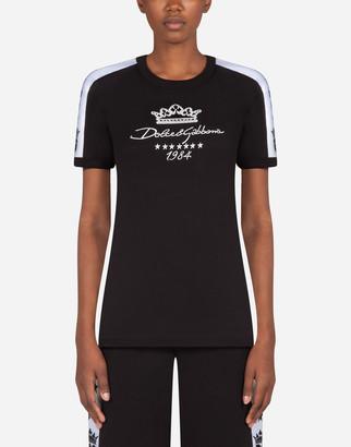Dolce & Gabbana Millennials Star Print Jersey T-Shirt With Embroidery
