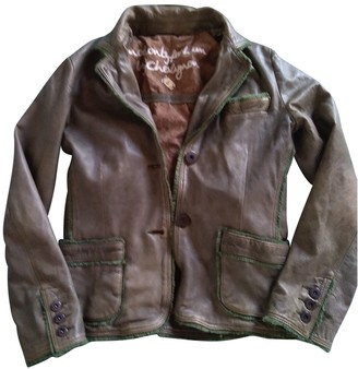 Chevignon Khaki Leather Leather Jacket for Women