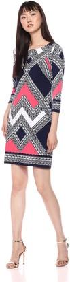 Vince Camuto Women's Patterned Long Sleeve T Body Dress