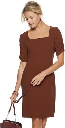 Sharagano Women's Ruched-Sleeve Squareneck Sheath Dress