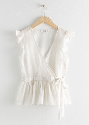 And other stories Sleeveless Cotton Wrap Tank Top