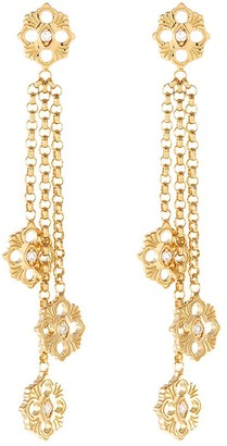 Buccellati 'Opera Pendant' diamond 18k yellow gold floral earrings