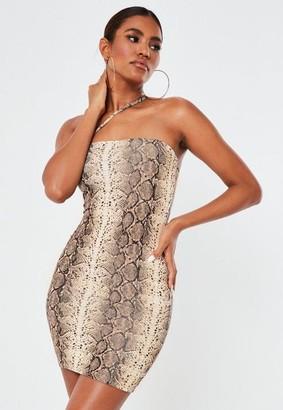 Missguided Brown Animal Print Slinky Asymmetric Mini Dress