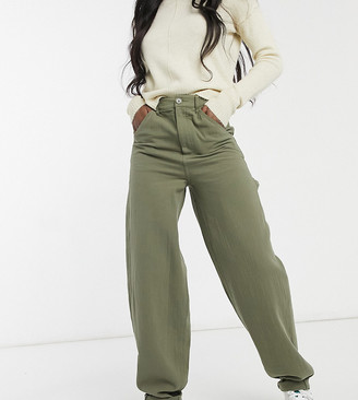 Asos Tall ASOS DESIGN Tall slouchy trackies in khaki cheesecloth