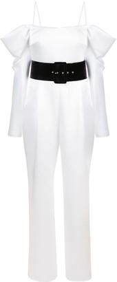 Rasario Cold-Shoulder Belted Jumpsuit