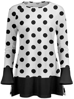 Lily Women's Tunics BLK - Black & White Polka Dot Ruffle Long-Sleeve Tunic - Women & Plus