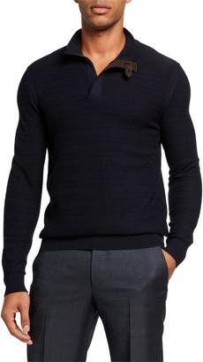 Ermenegildo Zegna Men's Textured Wool Leather-Trim Sweater