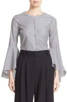 Milly 'Ruthie' Stripe Cotton Bell Sleeve Blouse