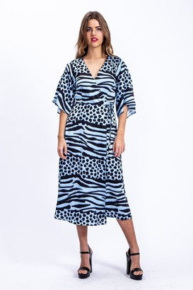 Liquorish Midi Wrap Dress in Blue Animal Print