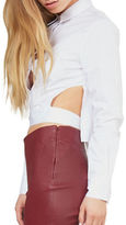 KENDALL + KYLIE Cropped Tie-Back Shirt