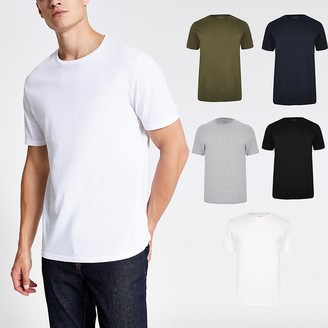 River Island White multicoloured slim fit T-shirt 5 pack