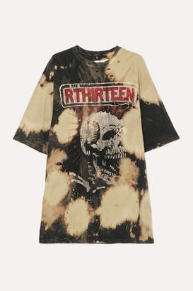 R 13 Oversized Distressed Embellished Tie-dyed Cotton-jersey T-shirt - Black