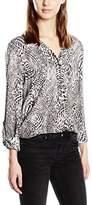Olsen Women's Animal Print Long Sleeve Blouse