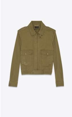 Saint Laurent Aviator Jacket In Cotton Gabardine