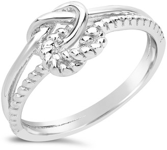 Sterling Forever Sterling Silver Double Love Knot Rope Trim Ring