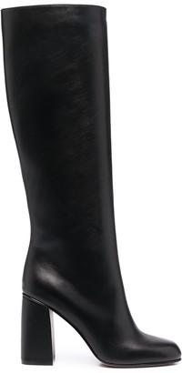 Red(V) Block-Heel Boots