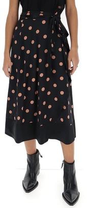 Tory Burch Ruffled Polka Dot Midi Skirt