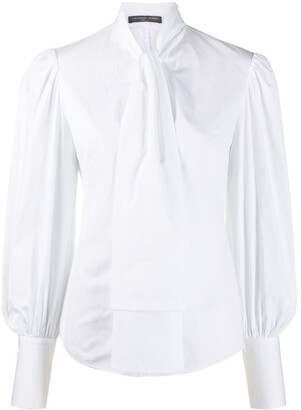 Alexander McQueen Tie-Neck Cotton Blouse