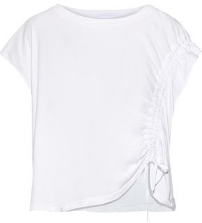 Current/Elliott The Ruched Muscle Cotton-jersey T-shirt