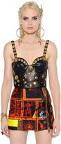 Fausto Puglisi Studs Embellished Leather Cropped Top