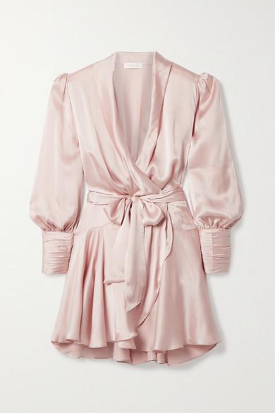 Zimmermann Silk-satin Wrap Mini Dress - Pastel pink