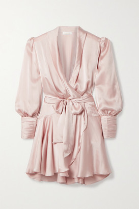 Zimmermann Silk-satin Wrap Mini Dress - Pastel pink