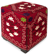 Found Object Suzani Flower Cube Pouf