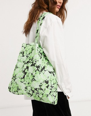 ASOS DESIGN organic cotton shopper in green floral print
